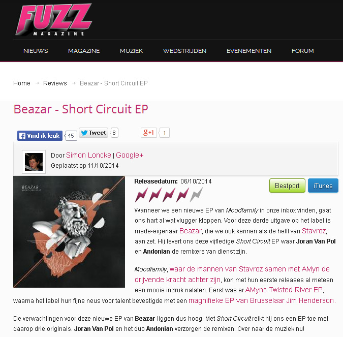 Beazar Short Circuit EP on Fuzz Magazine