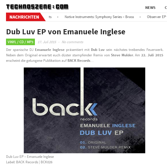 technoszene review Emanuele Inglese Dub Luv Back Records