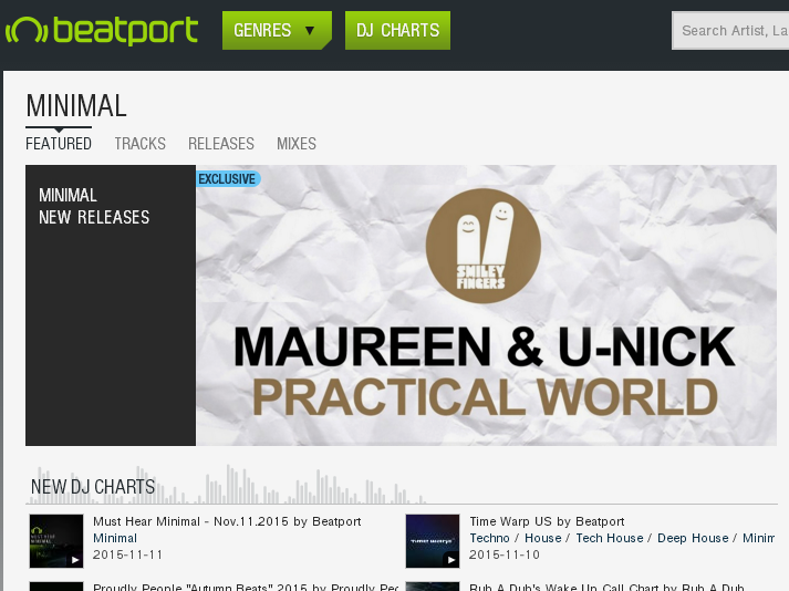 Maureen U-Nick - Practical World - Smiley Fingers featured banner on beatport minimal
