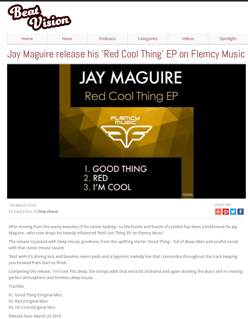 Jay Maguire - Red Cool Thing EP - Flemcy Music reviewed on beat-vision